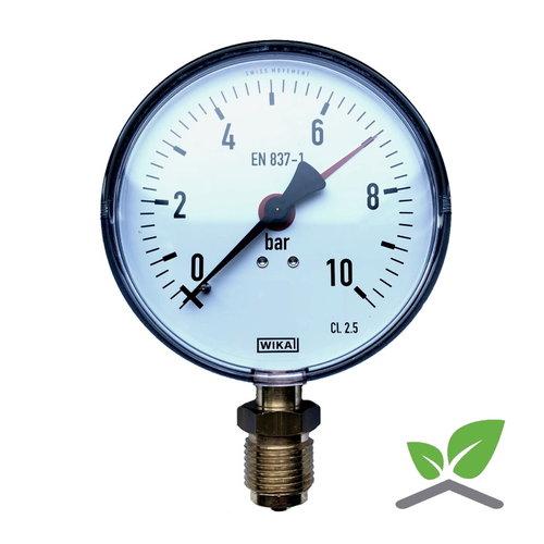 "Manometer 0...10 Bar; case 100 mm connection bottom 1/2"""