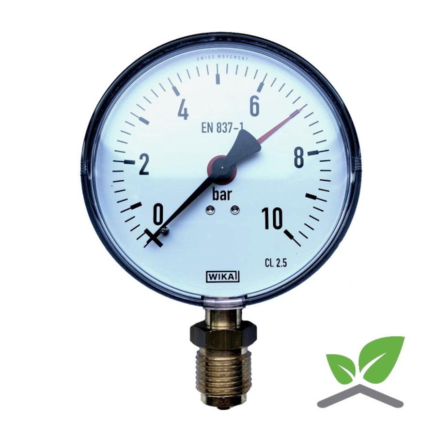 """Manometer 0...10 Bar; kast 100 mm aansluiting 1/2"""" onder-1"""