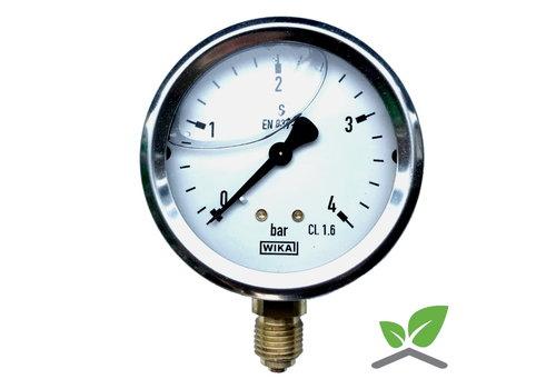 "Manometer 0...4 Bar; Glyzerin gefüllt Gehäuse 60 mm Anschluss 1/4"" unten"