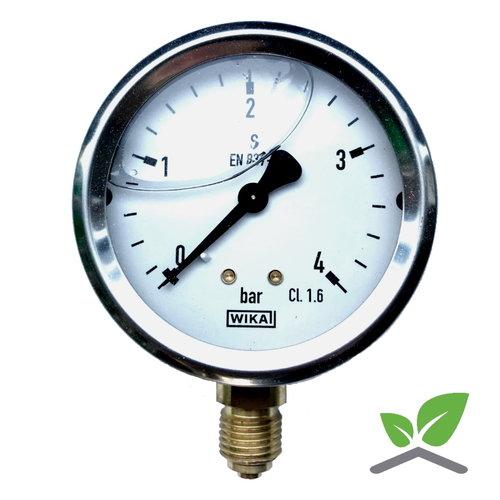 """Manometer 0...4 Bar; kast 60 mm aansluiting 1/4"""" onder Glycerine gevuld"""