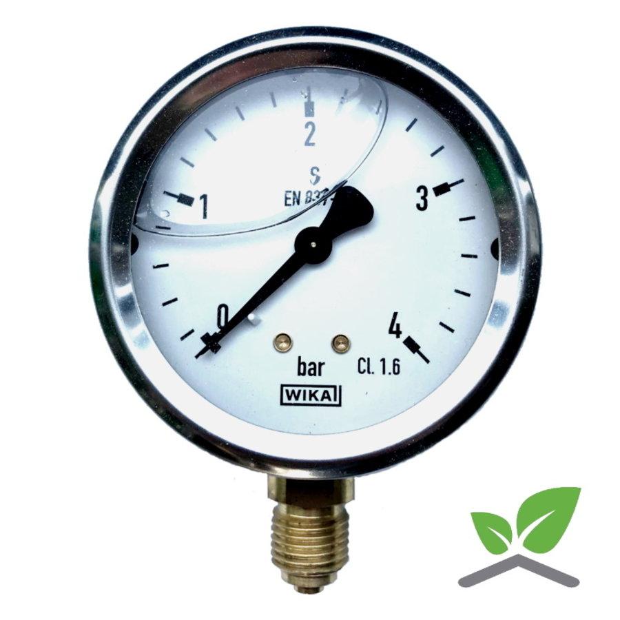 """Manometer 0...4 Bar; kast 60 mm aansluiting 1/4"""" onder Glycerine gevuld-1"""