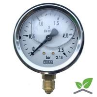 """Manometer 0...2,5 Bar; kast 60 mm aansluiting 1/4"""" onder Glycerine gevuld"""