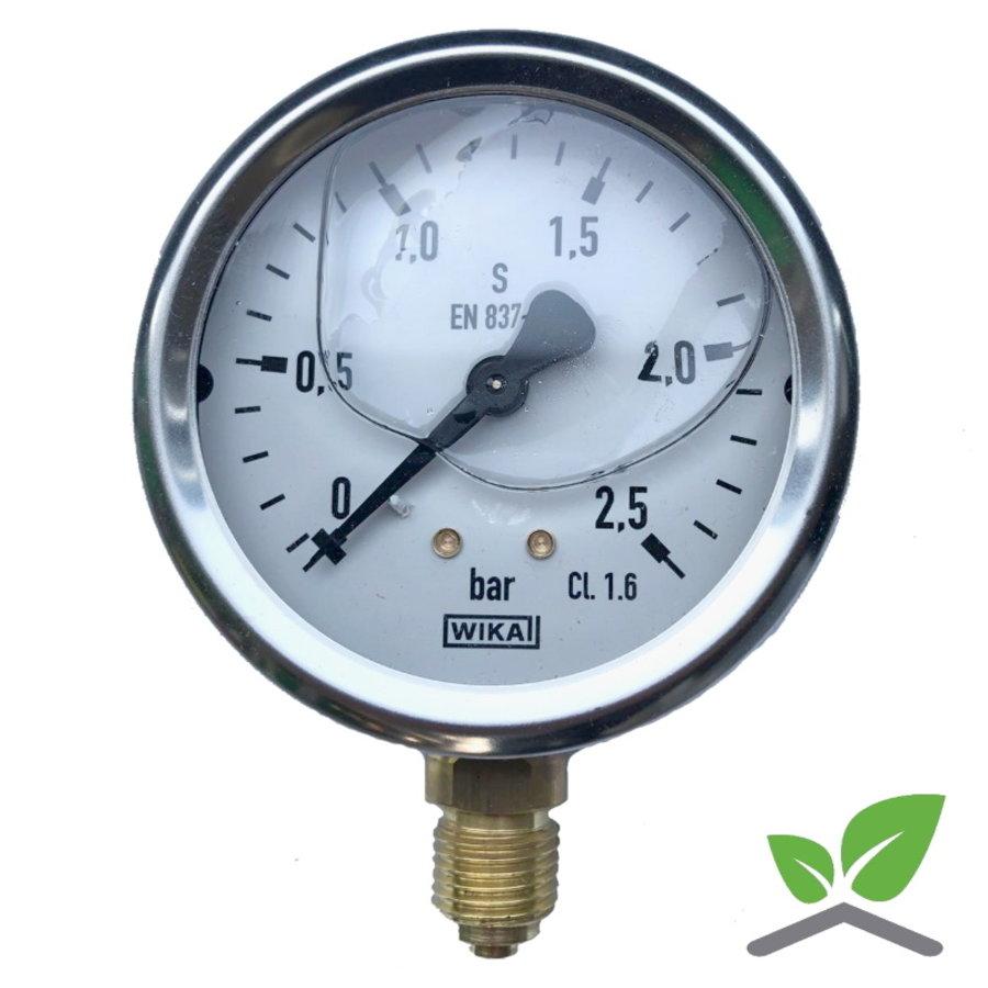 """Manometer 0...2,5 Bar; kast 60 mm aansluiting 1/4"""" onder Glycerine gevuld-1"""