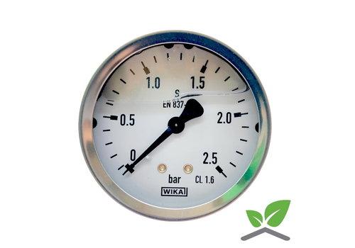 "Manometer 0...2,5 Bar; kast 60 mm aansluiting 1/4"" achter Glycerine gevuld"