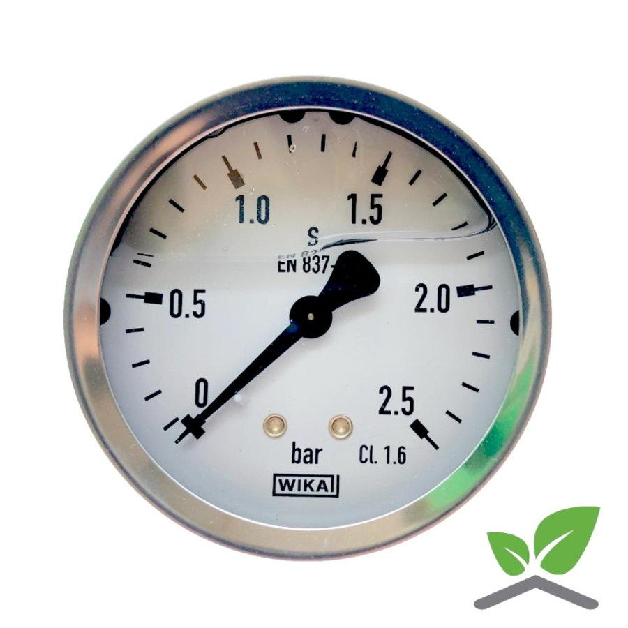 "Manometer 0...2,5 Bar; kast 60 mm aansluiting 1/4"" achter Glycerine gevuld-1"