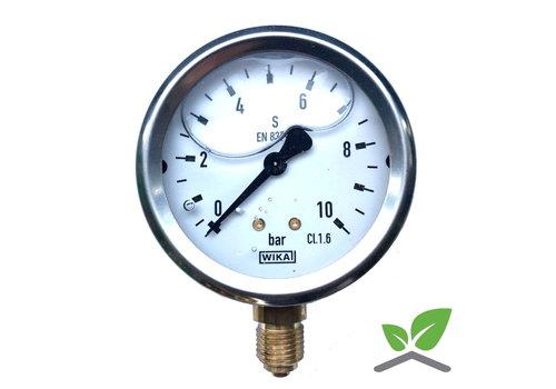"Manometer 0...10 Bar; Glyzerin gefüllt Gehäuse 60 mm Anschluss 1/4"" unten"