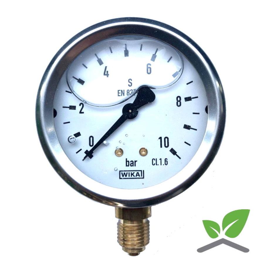 """Manometer 0...10 Bar; kast 60 mm aansluiting 1/4"""" onder  Glycerine gevuld-1"""