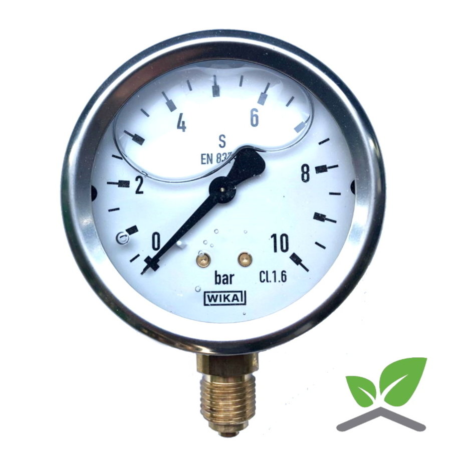 "Manometer Glycerin 0...10 Bar; case 60 mm connection bottom 1/4""-1"