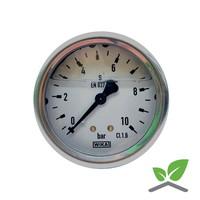 "Manometer 0...10 Bar; kast 60 mm aansluiting 1/4"" achter  Glycerine gevuld"
