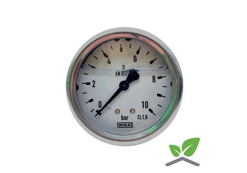 """Manometer 0...10 Bar; Glyzerin gefüllt Gehäuse 60 mm Anschluss 1/4"""" hinten"""