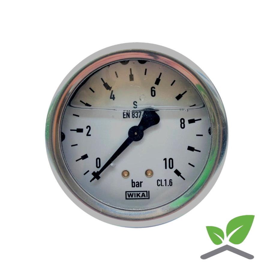 "Manometer 0...10 Bar; kast 60 mm aansluiting 1/4"" achter  Glycerine gevuld-1"