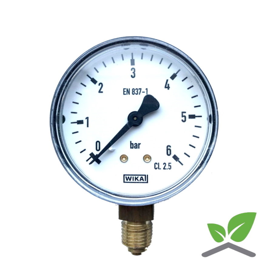 "Manometer 0...6 Bar; kast 60 mm aansluiting 1/4"" onder-1"