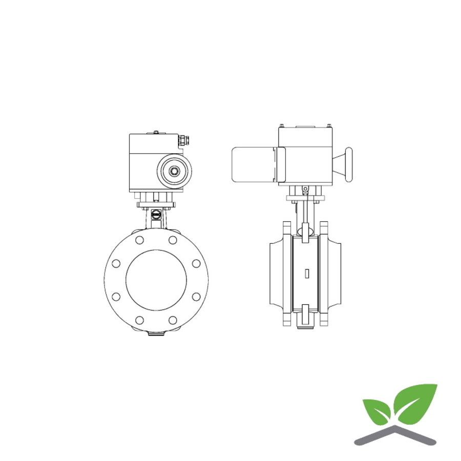 Ebro butterfly valve Z011-a with motor; DN 20  t/m 300 mm; pressure PN6/10/16-1
