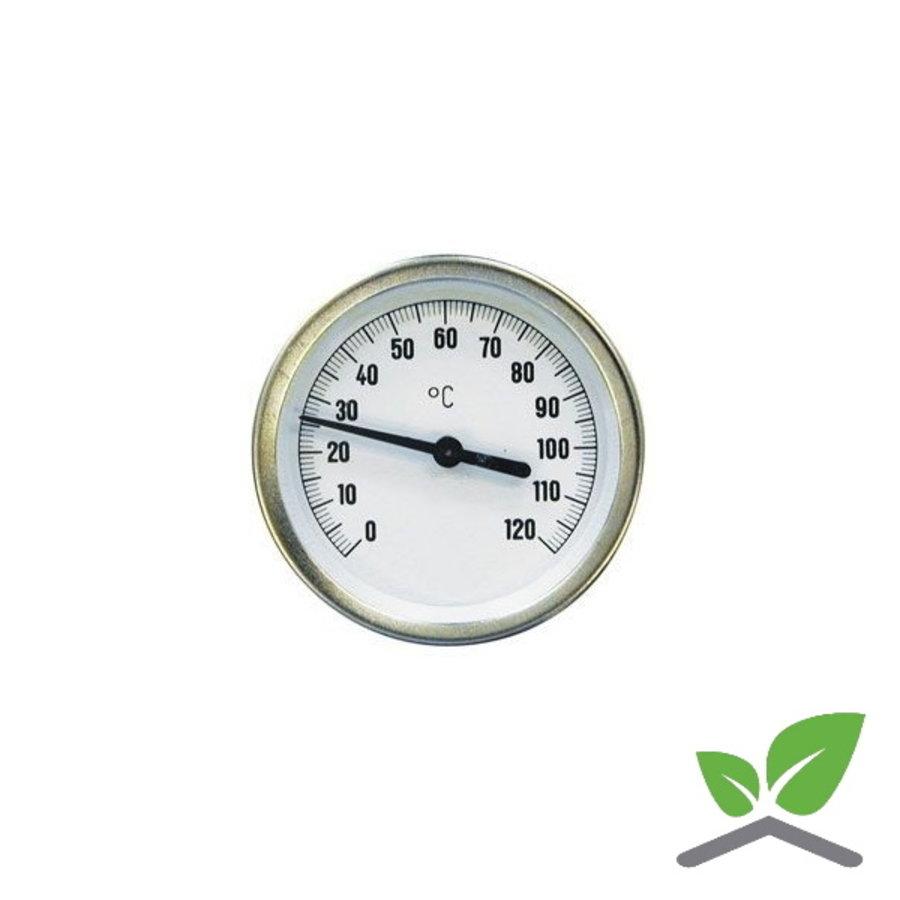 """Wijzer thermometer kast 80 mm insteek 63 mm met dompelbuis 1/2"""" 0...+120 gr. C-1"""