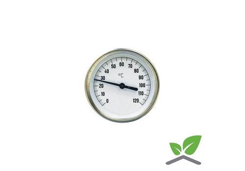 """Wijzerthermometer kast 100 mm insteek 100 mm met dompelbuis 1/2"""" 0...+120 gr. C"""