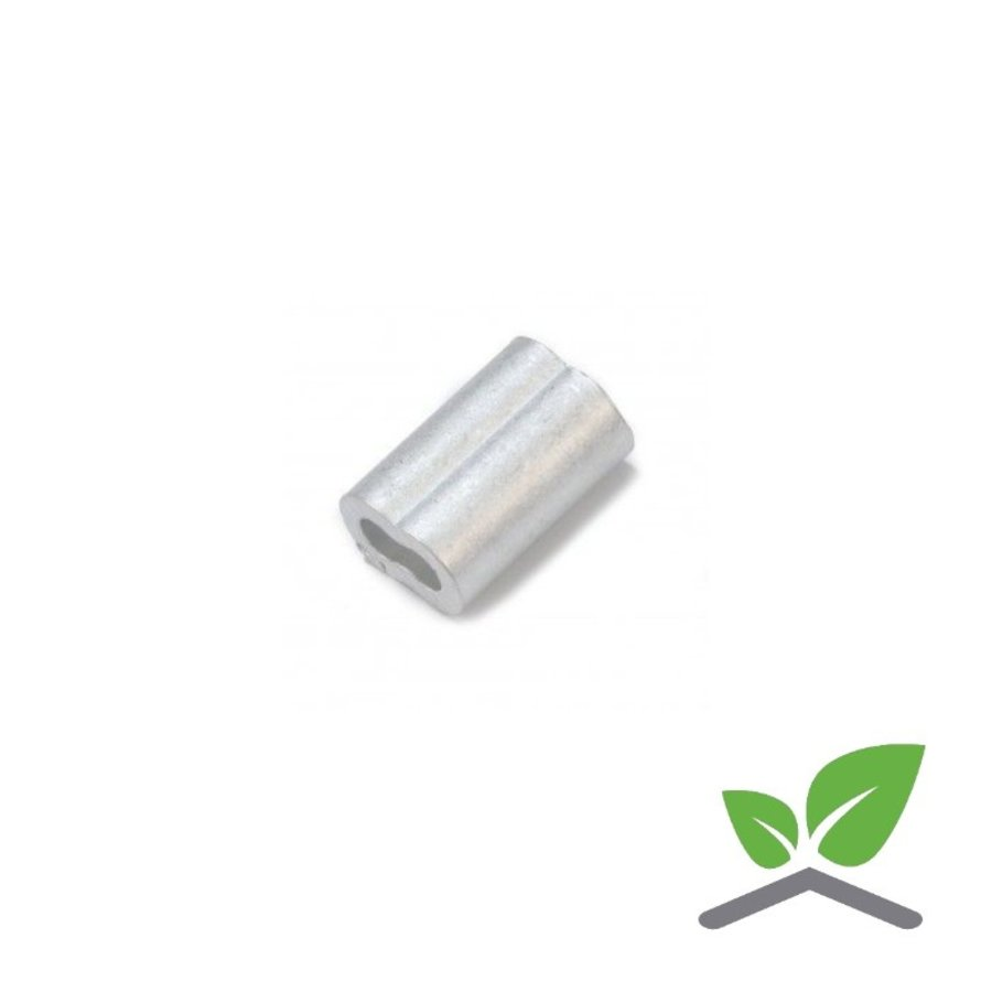 Aluminium 8-vormige persklem voor verzinkte draad 3 t/m 6 mm (verpakt per 100 stuks).-1
