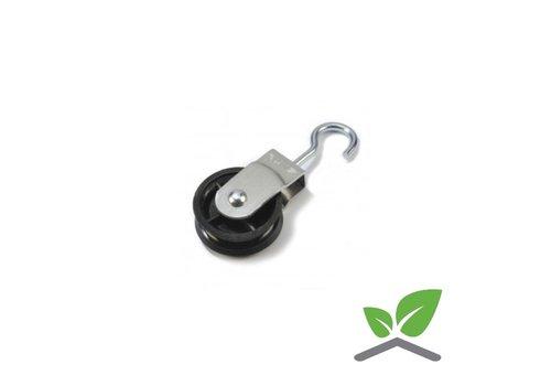 Aluminium katrol met wartelhaak / diameter schijf 40mm (per 25 stuks).