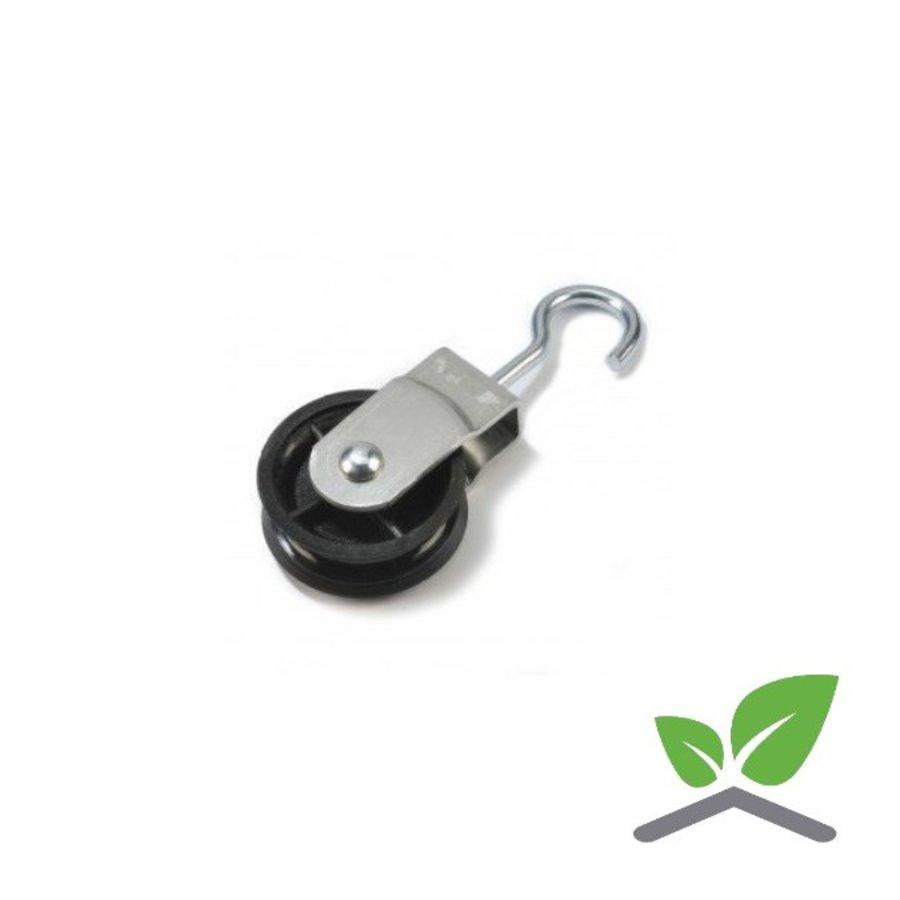 Aluminium katrol met wartelhaak / diameter schijf 40mm (per 25 stuks).-1
