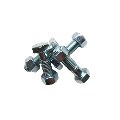 Set of 4 bolts + 4 nuts hexagonal galvanized