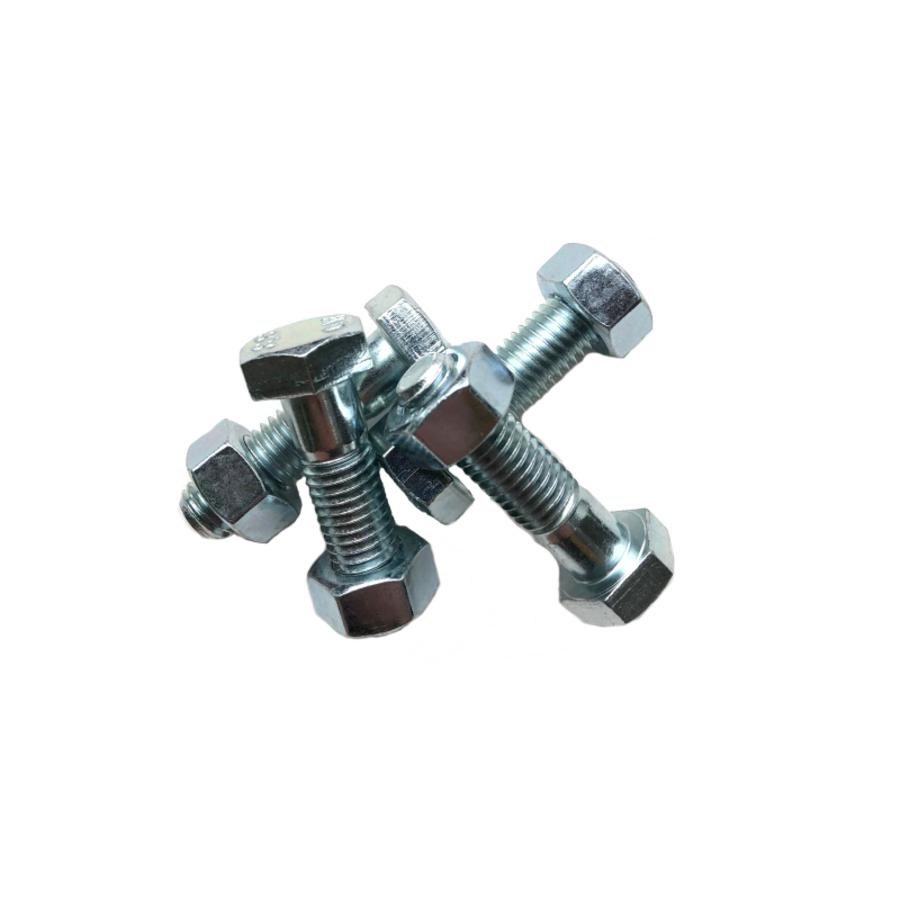 Set of 4 bolts + 4 nuts hexagonal galvanized-1