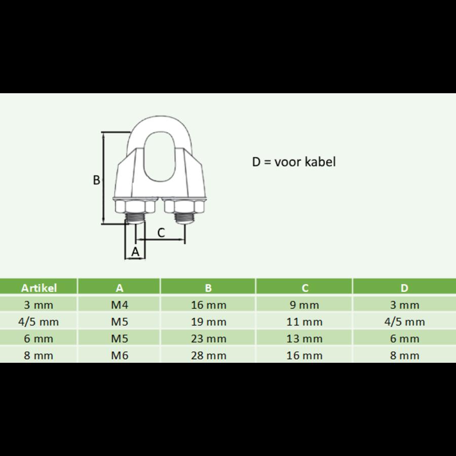Staalkabel klem verzinkt voor kabel 3 t/m 8 mm (verpakt per 100 stuks)-2