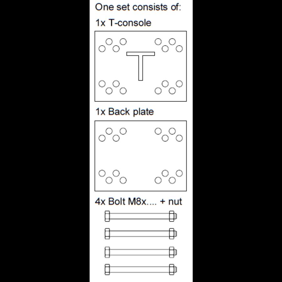 T-console voor poot 40 - 100 mm - Complete set (PRIJS OP AANVRAAG)-8