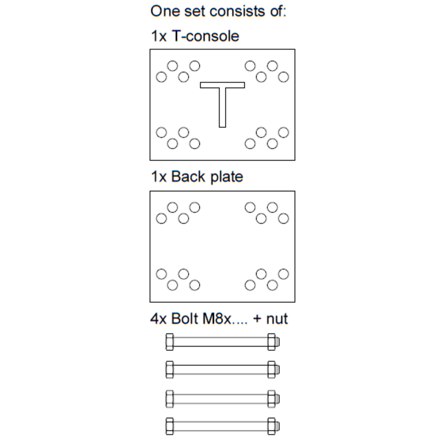 T-console voor poot 40 - 100 mm - Complete set-8