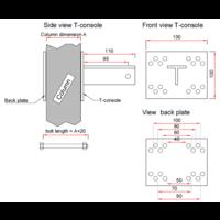 thumb-T-console voor poot 40 - 100 mm - Complete set (PRIJS OP AANVRAAG)-10