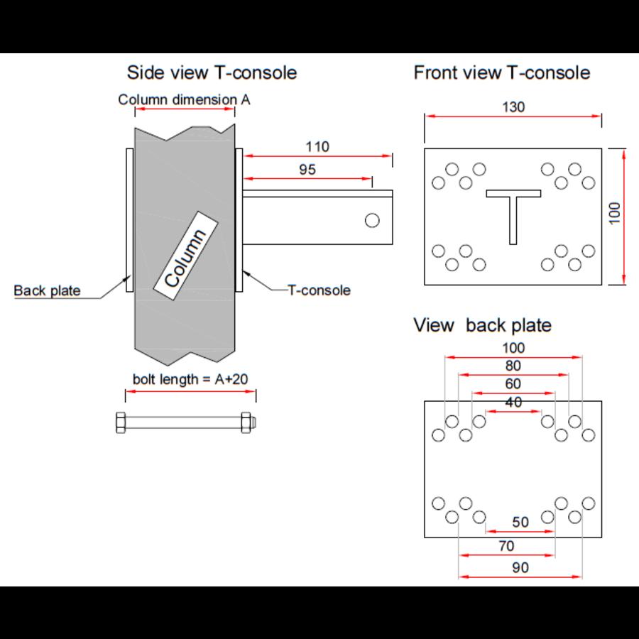 T-console voor poot 40 - 100 mm - Complete set (PRIJS OP AANVRAAG)-10