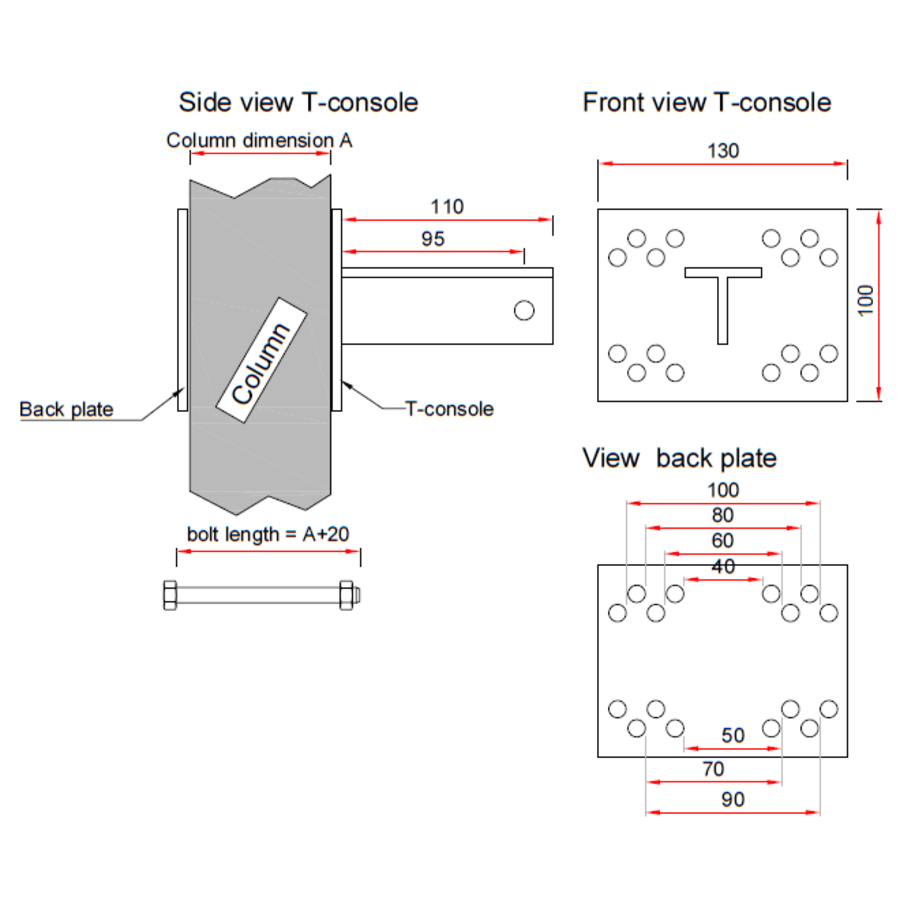T-Konsole für Stutz 40 - 100 mm - Komplettset-10