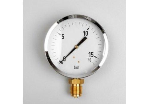 """Manometer GAS 0...160 mBar Gehäuse 100 mm Anschluss 1/2"""" unten"""