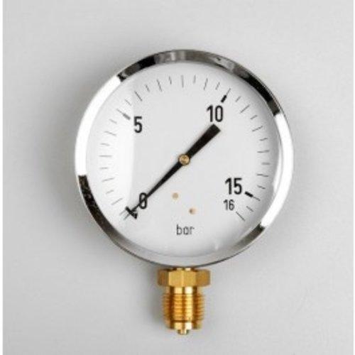 """Manometer Gas 0...160 mBar; kast 100 mm aansluiting 1/2"""" onder"""