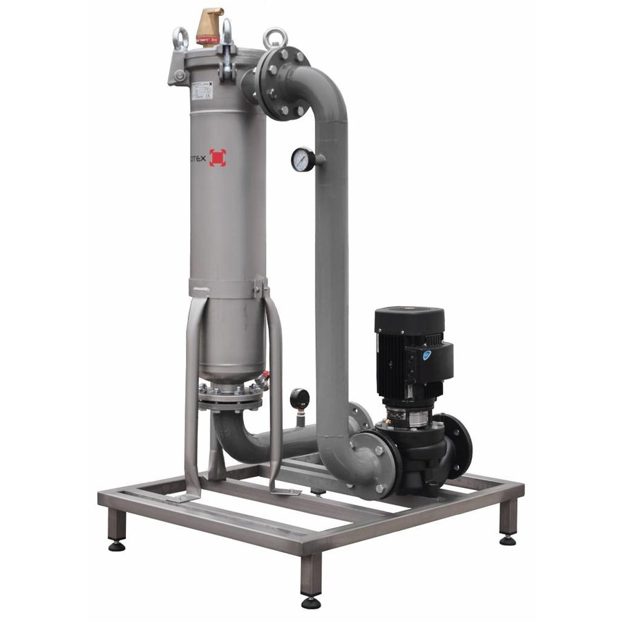 Sotex slib stream filter with Johnson pump and pipework on frame SFU+-1