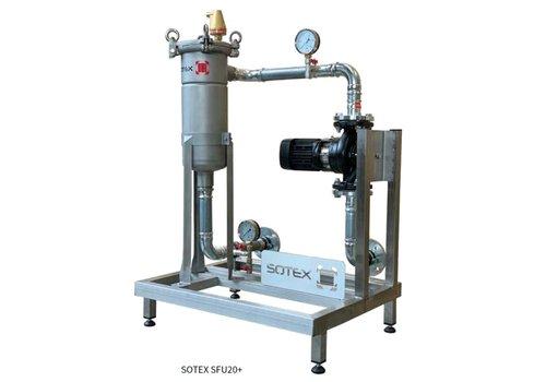 Sotex Teilstromfilter mit Grundfos Pumpe und Leitungen auf Stahlrahmen SFU+