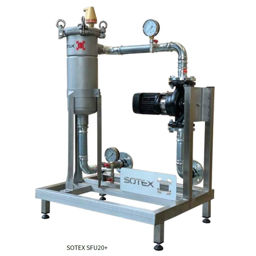 Sotex slib stream filter with Grundfos pump and pipework on frame SFU+-1