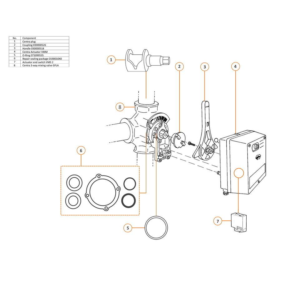 Centra Plug 3-way mixing valve DR-G 40  t/m 200-2