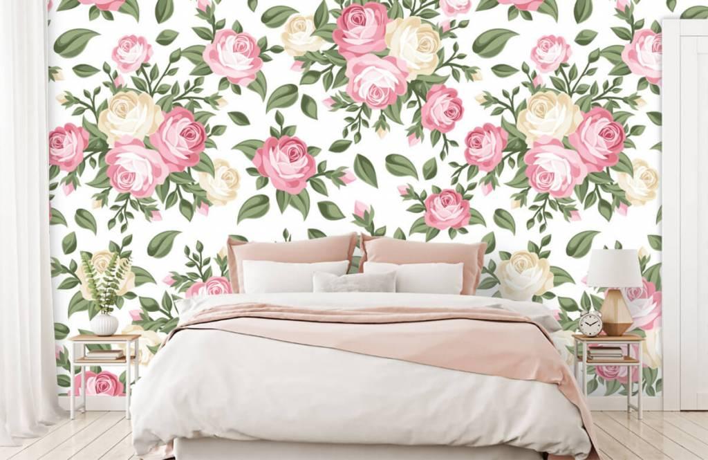 Bed Met Rozen.Behang Met Roze En Witte Rozen Fotobehang