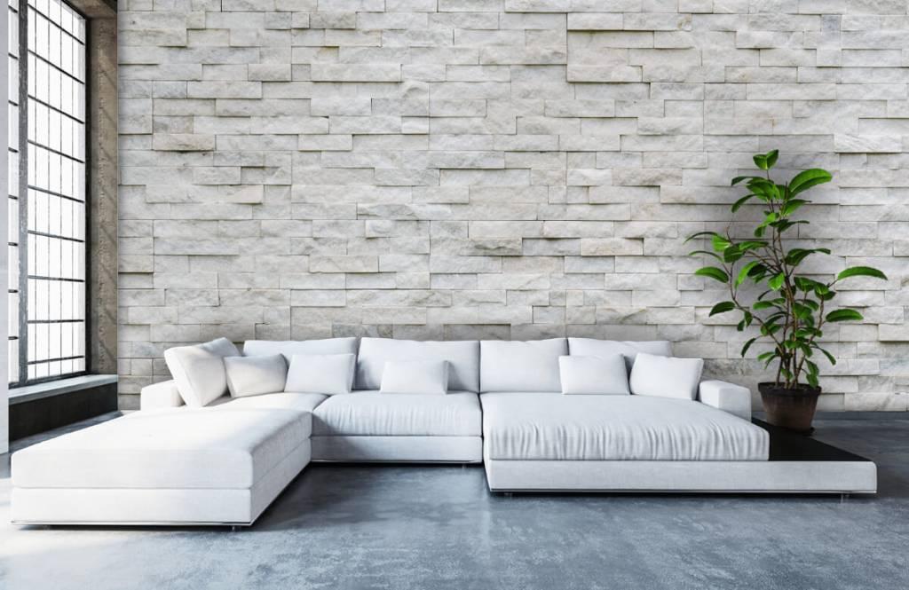 Stenen Muur Wit : Behang met een moderne stenen muur fotobehang