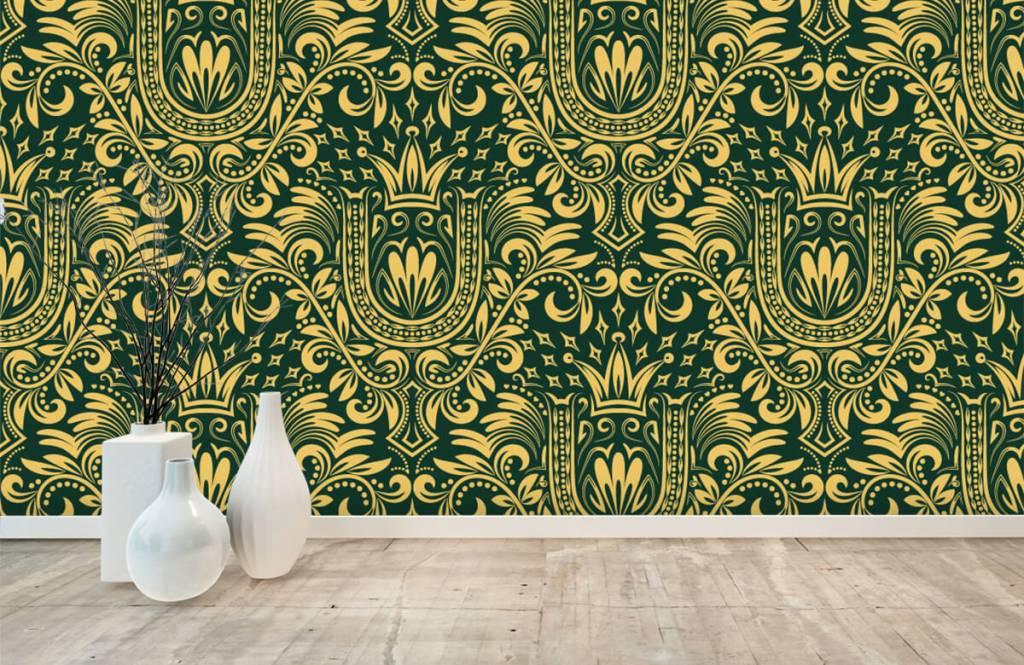 Behang Met Patroon : Behang met een groen barok patroon fotobehang