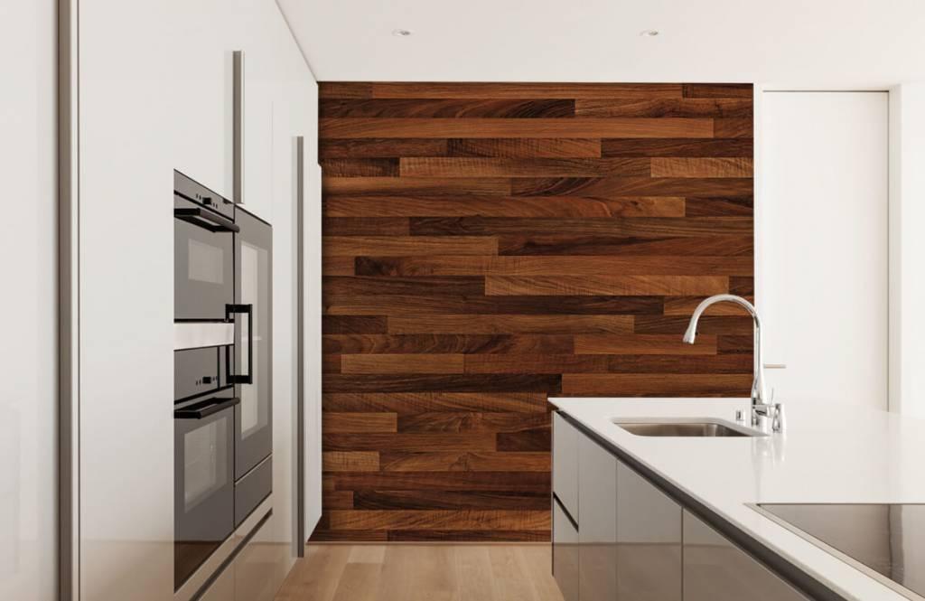 Keuken Kleine Planken : Behang met kleine donkere planken fotobehang