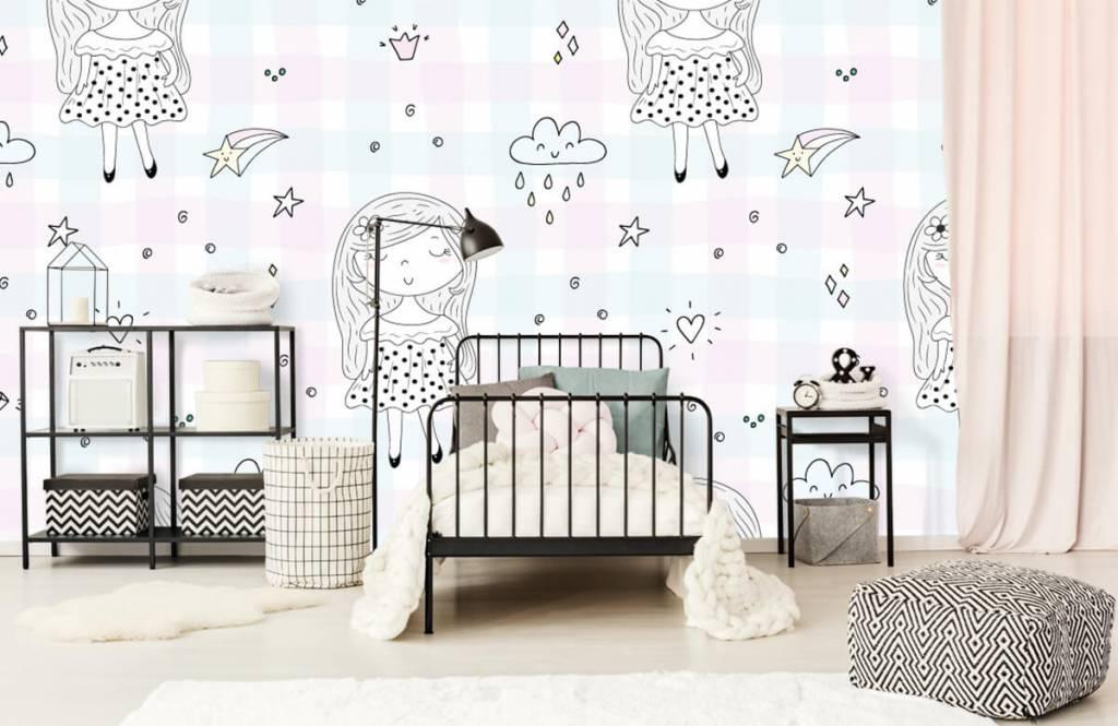 Babykamer Behang Sterren : Getekend meisje fotobehang