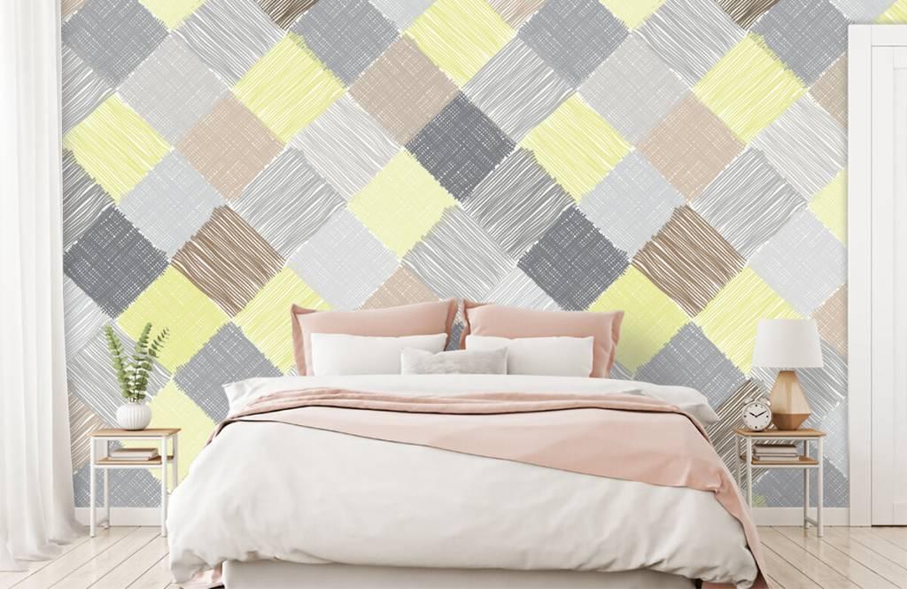 Behang Kinderkamer Geel : Behang met vlakverdeling grijs geel bruin zwart fotobehang