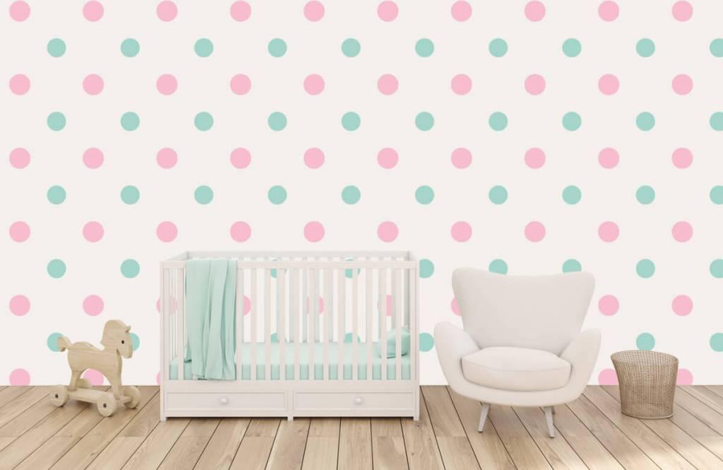 Behang Met Stippen : Behang met roze en groene stippen fotobehang