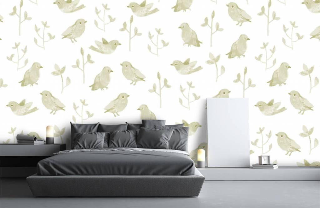 Behang Kinderkamer Vogeltjes : Behang met een patroon van vogels en planten fotobehang