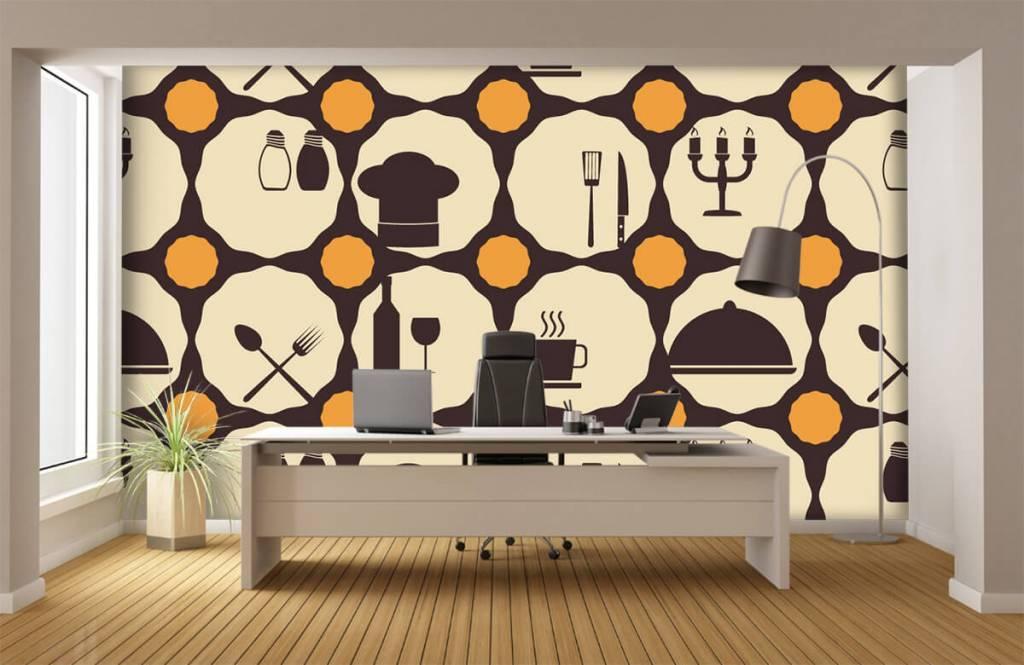 Behang met restaurant symbolen fotobehang