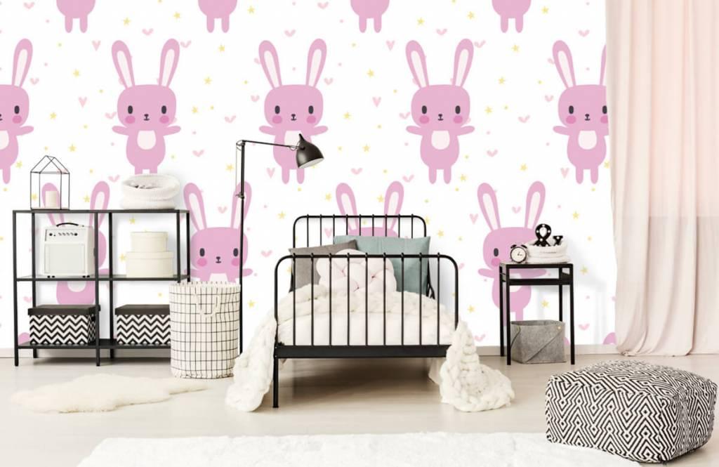 Babykamer Behang Konijn : Behang met een roze konijnen patroon fotobehang