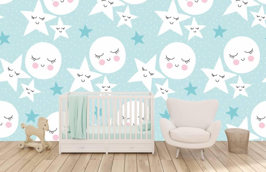 Babykamer Behang Sterren : Behang met manen en sterren fotobehang