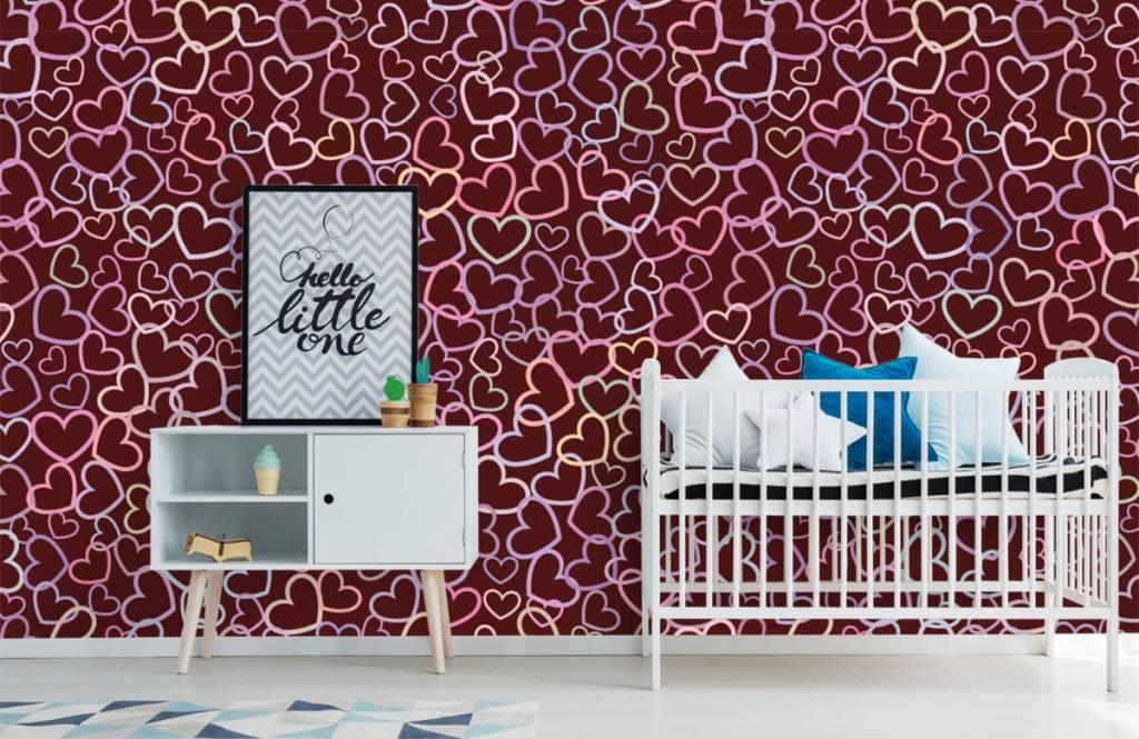 Behang Kinderkamer Regenboog : Behang met regenboog hartjes fotobehang