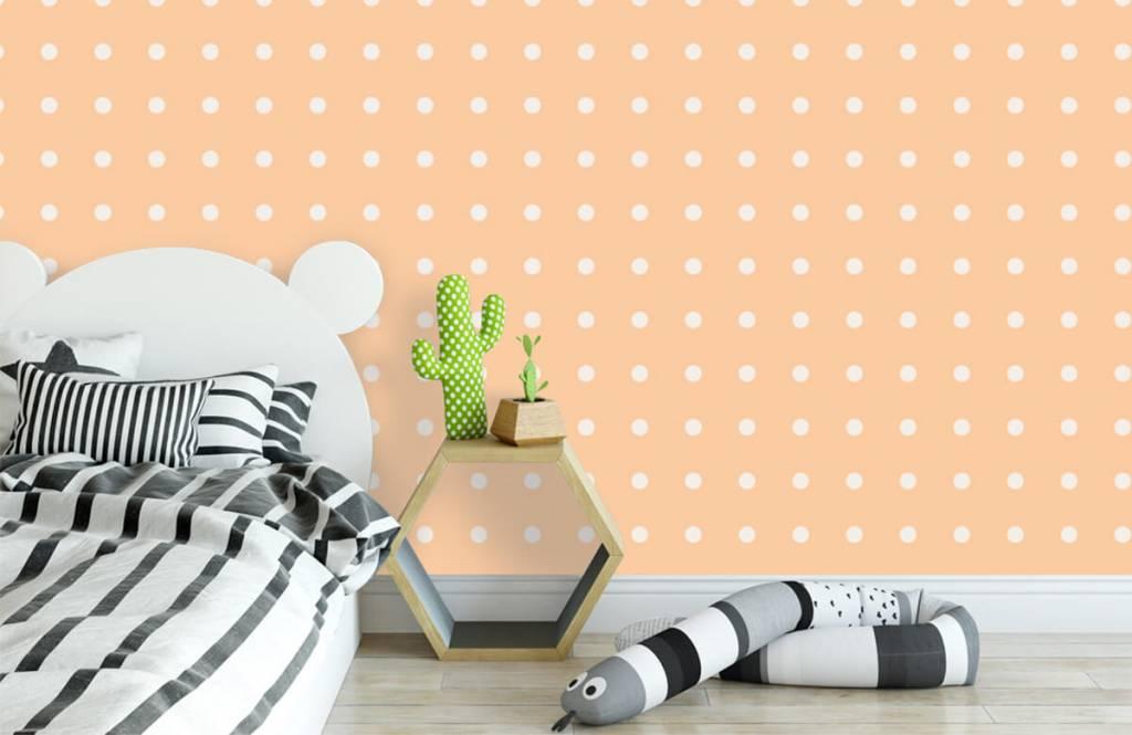 Behang Met Stippen : Behang met crème stippen op een oranje achtergrond fotobehang