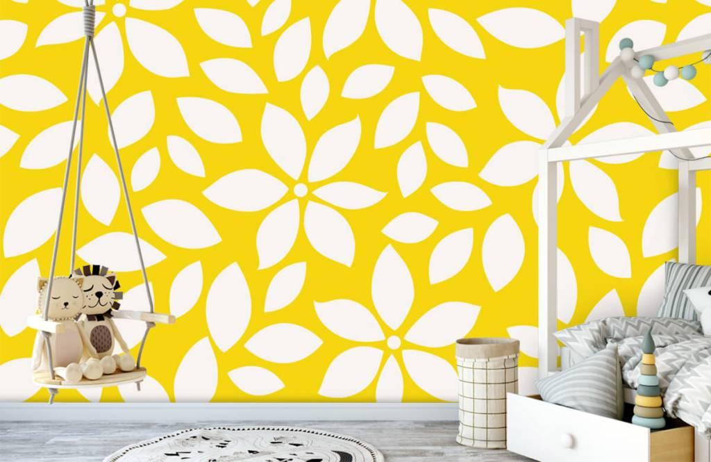 Behang Kinderkamer Geel : Behang met een geel bloemenpatroon fotobehang